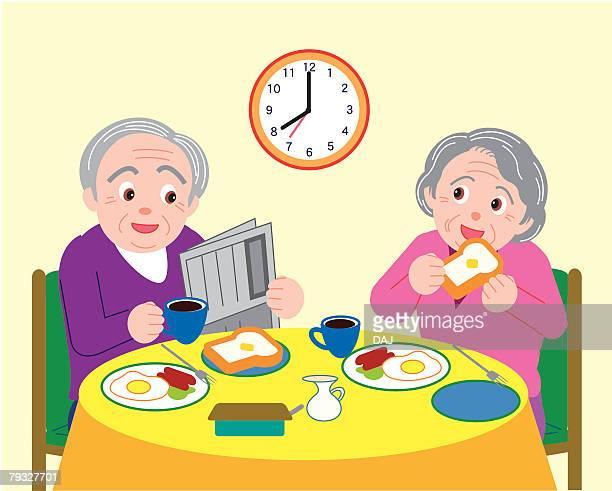 ilustrações de stock, clip art, desenhos animados e ícones de senior man and woman talking and having breakfast, front view - mesa cafe da manha