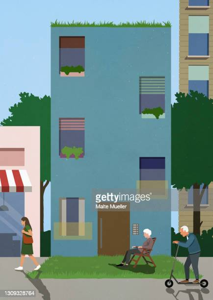 senior man riding electric scooter on sidewalk outside apartment - transportation stock illustrations
