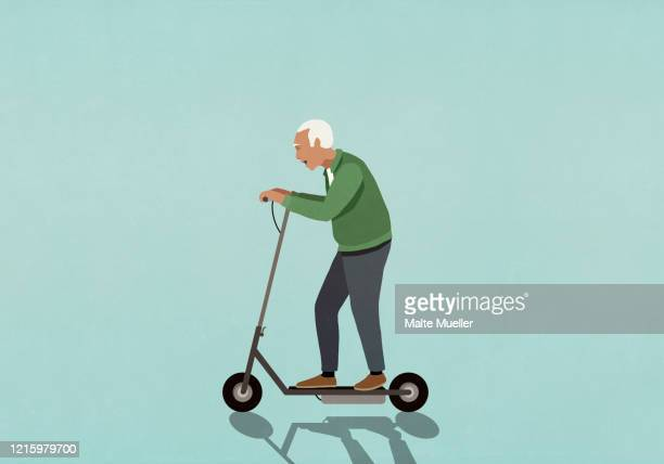 senior man riding motorized scooter - carefree stock illustrations