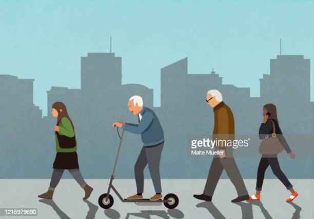 senior man riding motorized scooter in city - day stock illustrations