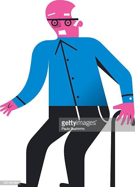 ilustrações de stock, clip art, desenhos animados e ícones de senior man walking with walking stick - buchinho