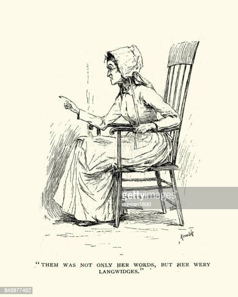 senior victorian woman wagging her finger - bonnet stock illustrations, clip art, cartoons, & icons