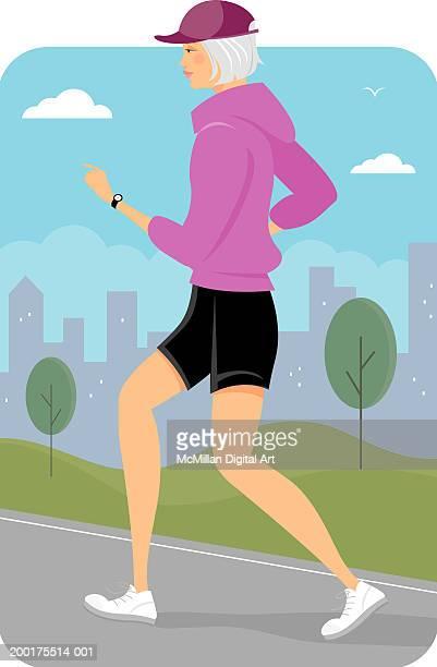 senior woman jogging, side view - jogging stock illustrations, clip art, cartoons, & icons