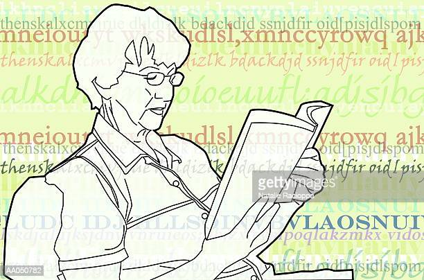 Senior woman reading book, side view