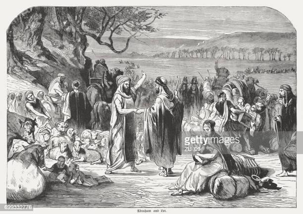 ilustrações, clipart, desenhos animados e ícones de separação de abraão e lot (gênesis 13, 9), publicado de 1886 - religião