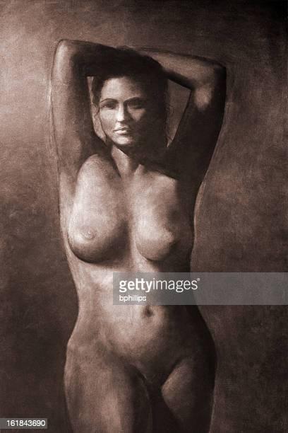 illustrazioni stock, clip art, cartoni animati e icone di tendenza di seppia disegno - donna nuda