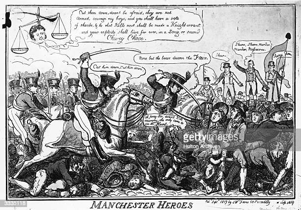 A cartoon showing the 'Manchester Heroes' citizens of Manchester who having met at St Peter's Fields to demand the reform of parliament are being...
