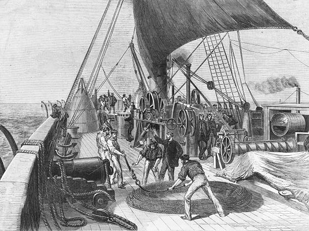The laying of the Atlantic Telegraph Cable on board...