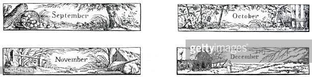 Septembre octobre novembre décembre illustrations panorma taille, la chute, hiver, 1810