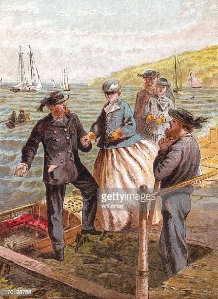 September - Victorian people boarding a boat