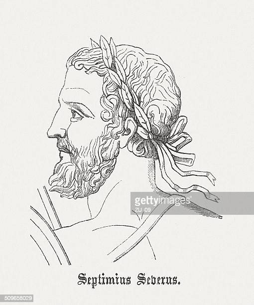 septimius severus (145-211), roman emperor, wood engraving, published in 1864 - governmental occupation stock illustrations, clip art, cartoons, & icons