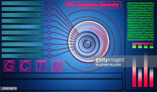 dna sequence generator - touch sensitive stock illustrations