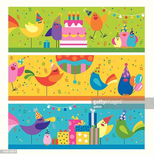 ilustrações, clipart, desenhos animados e ícones de sequência de pássaros em uma festa de aniversário - pinata
