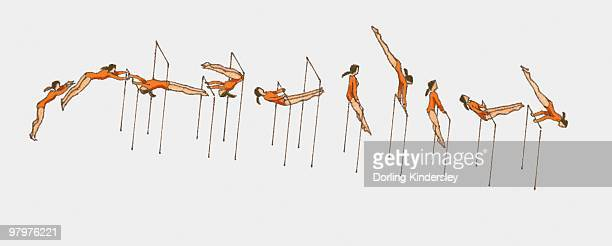 Sequence of illustration of female gymnast competing on horizontal bars