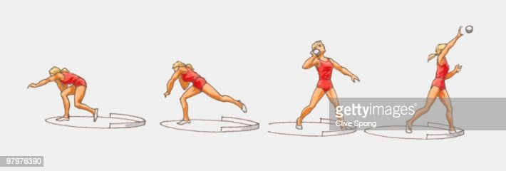 sequence of illustrations of female athlete throwing shot
