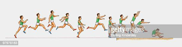 Sequence of illustrations of male athlete competing in triple jump