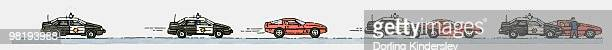 sequence of illustrations of police car in pursuing and catching up with red sports car - domestic car stock illustrations, clip art, cartoons, & icons