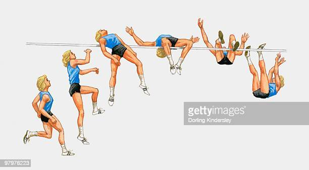 sequence of illustrations showing female athlete performing high jump - women's field event stock illustrations