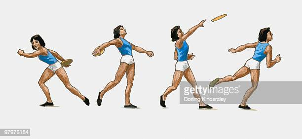 sequence of illustrations showing female athlete throwing discus - women's field event stock illustrations