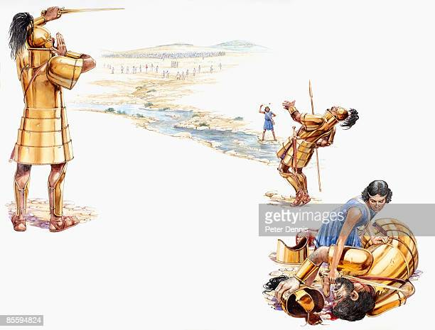 Sequence of illustrations showing Goliath, holding sword, shouting challenge to David, David holding catapult above head after wounding Goliath who falls back hit by stone, and David decapitates Goliath as he lies bleeding