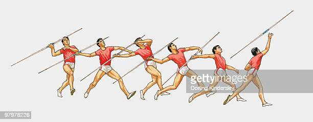 sequence of illustrations showing male athlete throwing javelin - javelin stock illustrations