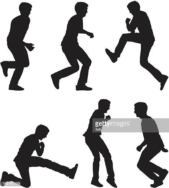 Sequence of man running and jumping