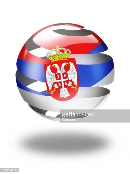 ilustrações, clipart, desenhos animados e ícones de esfera e botão de sérvia sérvia bandeira isolada no branco - sérvia