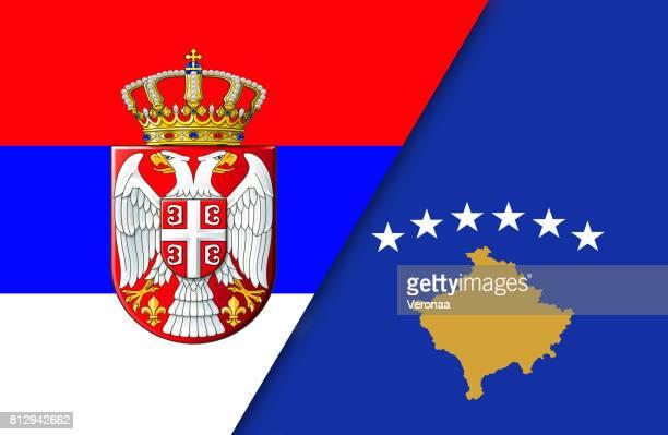 Serbian and Kosovo flag