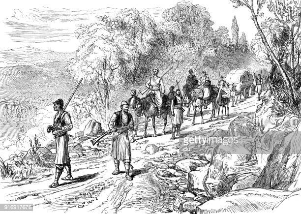 serbian farmers move to the market - 1877 stock illustrations, clip art, cartoons, & icons