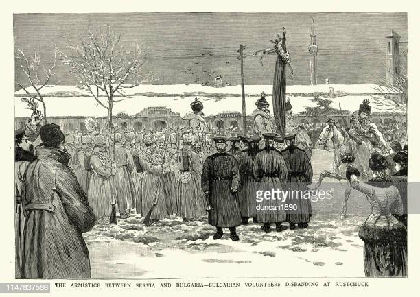 serbo-bulgarian war, armistice, bulgarian volunteers disbanding, 19th century - historical document stock illustrations, clip art, cartoons, & icons