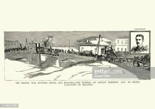illustrazioni stock, clip art, cartoni animati e icone di tendenza di serbo-bulgarian war, funeral of captain marinoff, 19th century - bulgaria