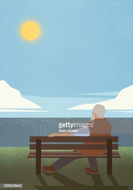 serene senior man on bench enjoying idyllic sunny lake view - full length stock illustrations