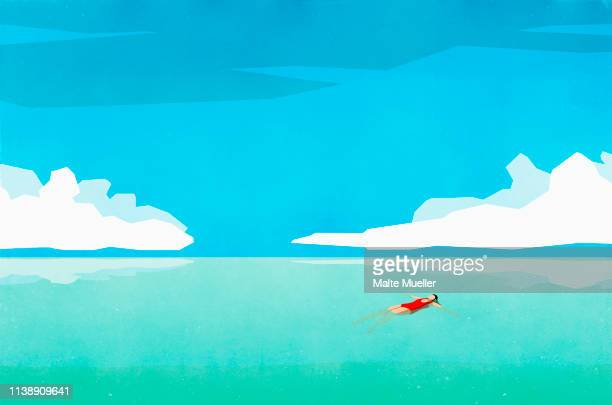 serene woman floating on back in sunny turquoise ocean - silence stock illustrations