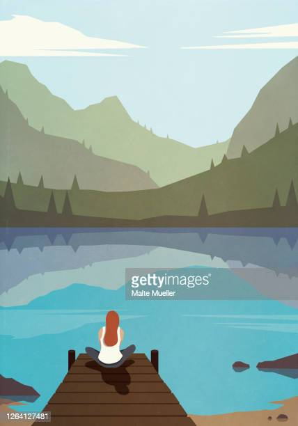 serene woman sitting on dock at tranquil summer lake - illustration stock illustrations
