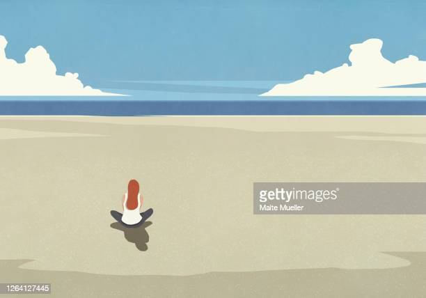 serene woman sitting on tranquil sunny summer ocean beach - rear view stock illustrations