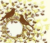 Series birds. Thrush. Vector illustration.