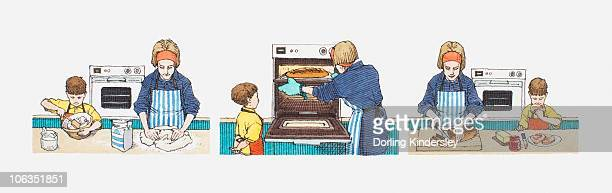 Series of illustrations of young daughter helping mother to prepare and cook food in cooking in kitchen