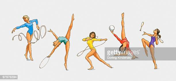 illustrations, cliparts, dessins animés et icônes de series of illustrations showing rhythmic gymnasts using the ribbon, hoop, ball, rope and clubs - gymnastique rythmique et sportive