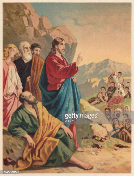 sermon on the mount (matthew 5-7), chromolithograph, published 1886 - jesus christ stock illustrations, clip art, cartoons, & icons