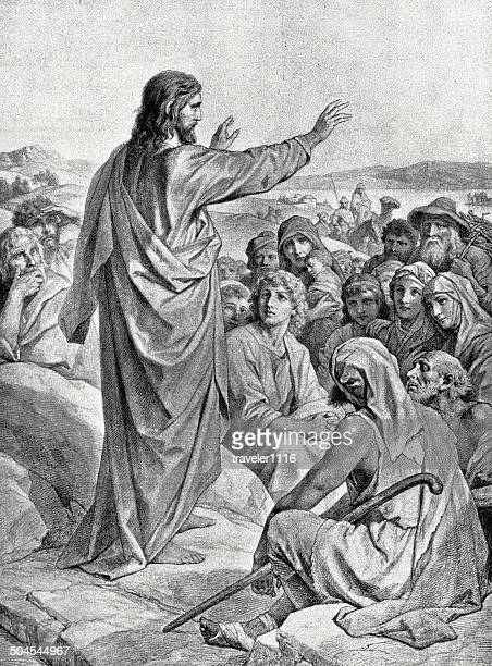 sermon on the mount - jesus christ stock illustrations, clip art, cartoons, & icons