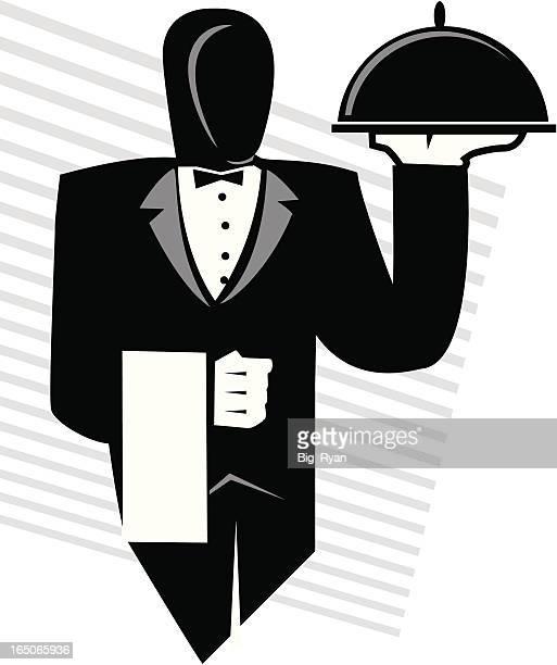 server - butler stock illustrations, clip art, cartoons, & icons