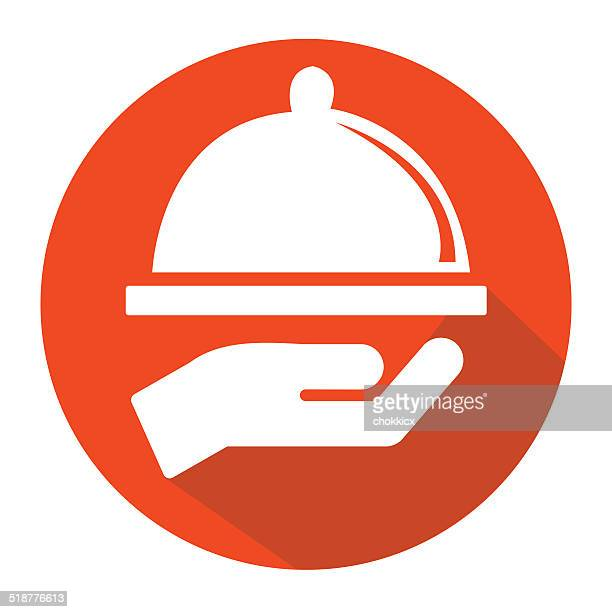 serving food flat round icon - serving size stock illustrations, clip art, cartoons, & icons