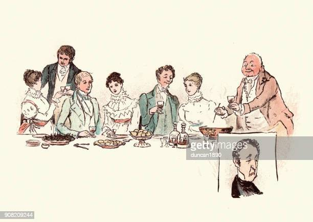 serving glasses of warm punch after victorian christmas dinner - mulled wine stock illustrations, clip art, cartoons, & icons