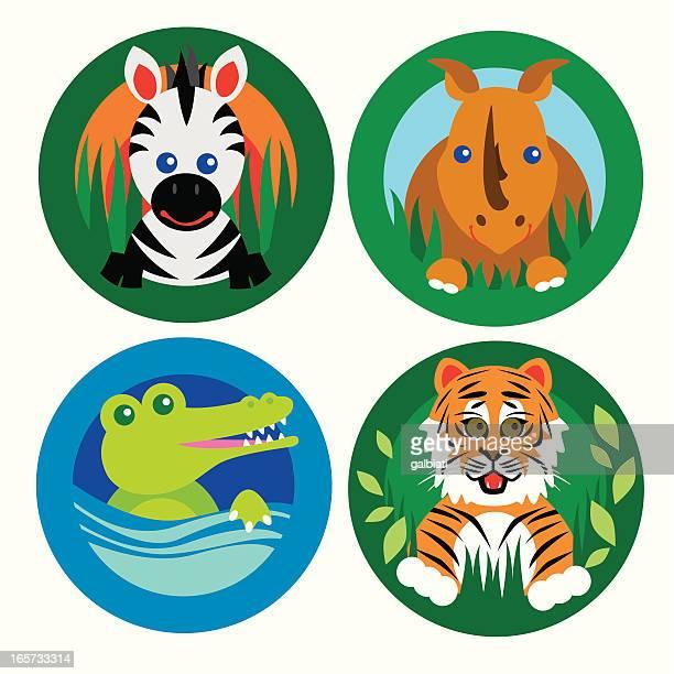 set 2: four jungle theme animals
