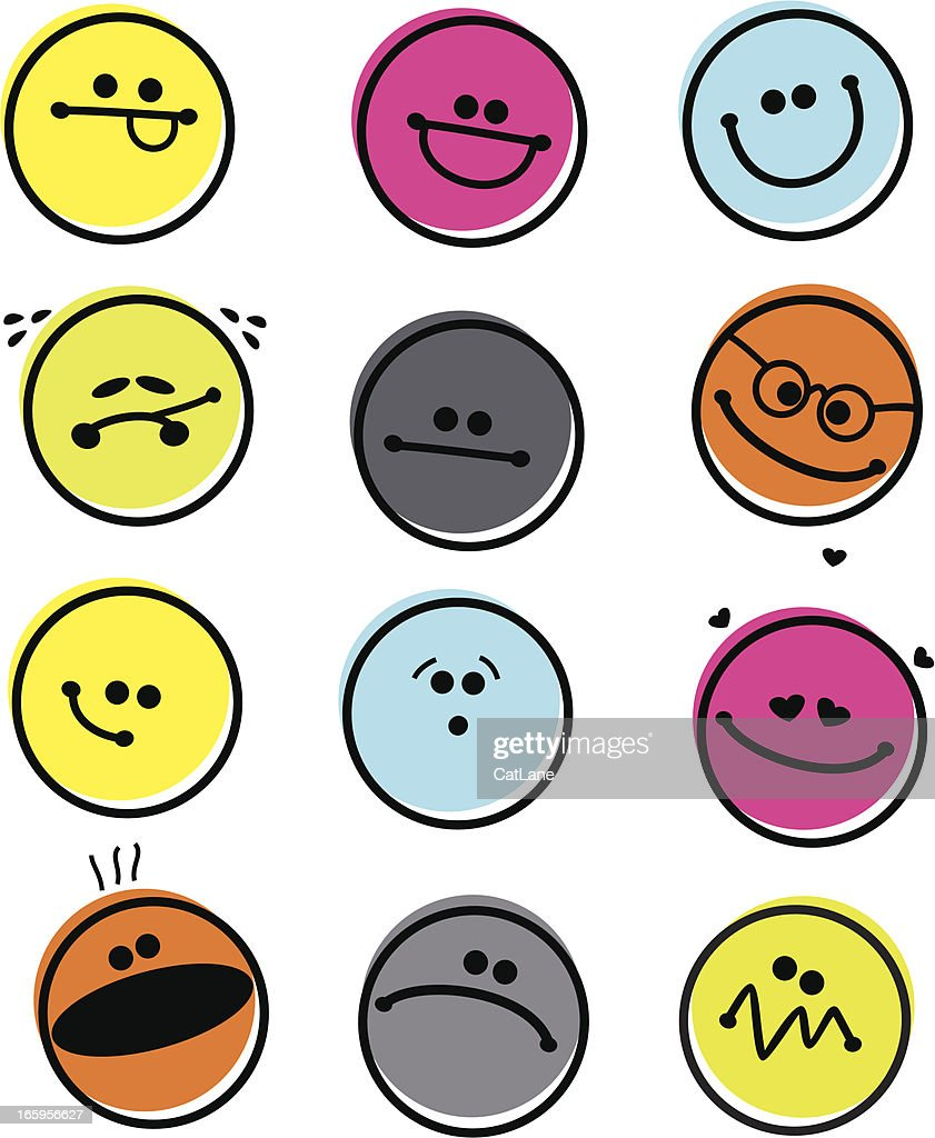 Set of Abstract Emoticons : stock illustration
