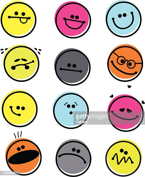 set of abstract emoticons - anthropomorphic stock illustrations, clip art, cartoons, & icons