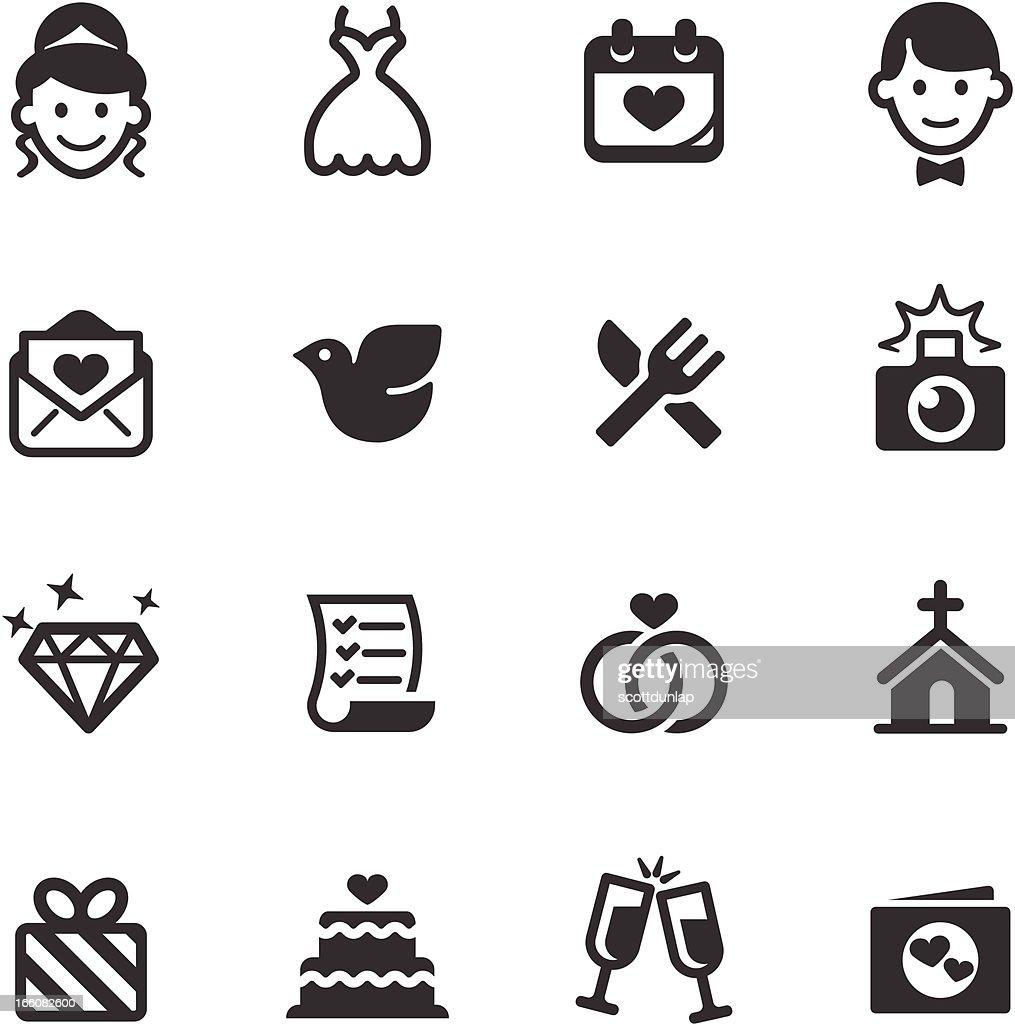 Set of black and white wedding icons