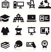 Set of black education and college icons