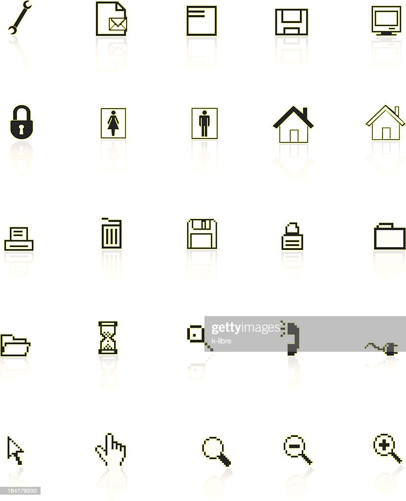 set of black web icons - vector