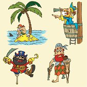 Set of cartoon pirate